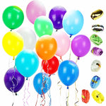 "Assorted Color 12"" Latex Party Balloons with 10 Bonus Colorful Ribbons, 100-Pack"