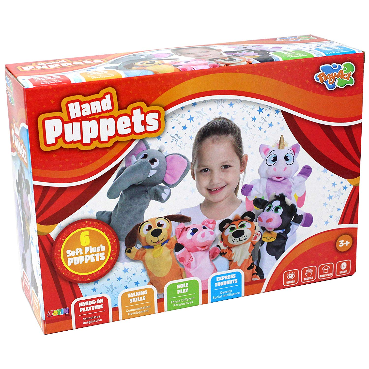 Toy Animal Friends Deluxe Hand Puppets 6 Pack