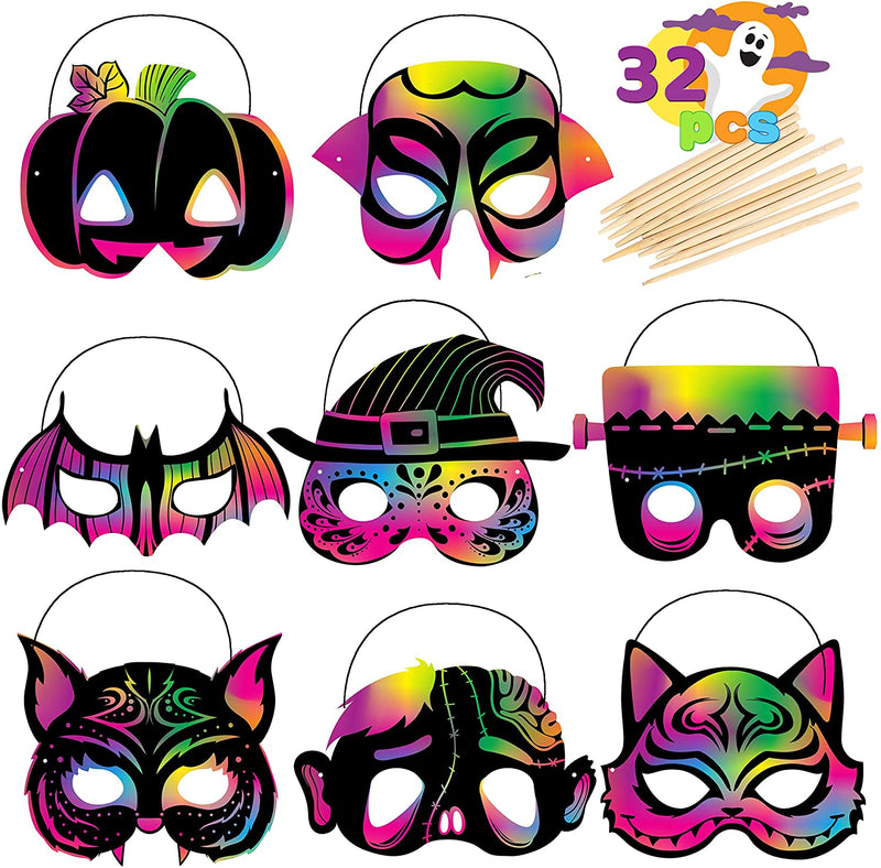 32 Pcs Halloween Scratch Masks