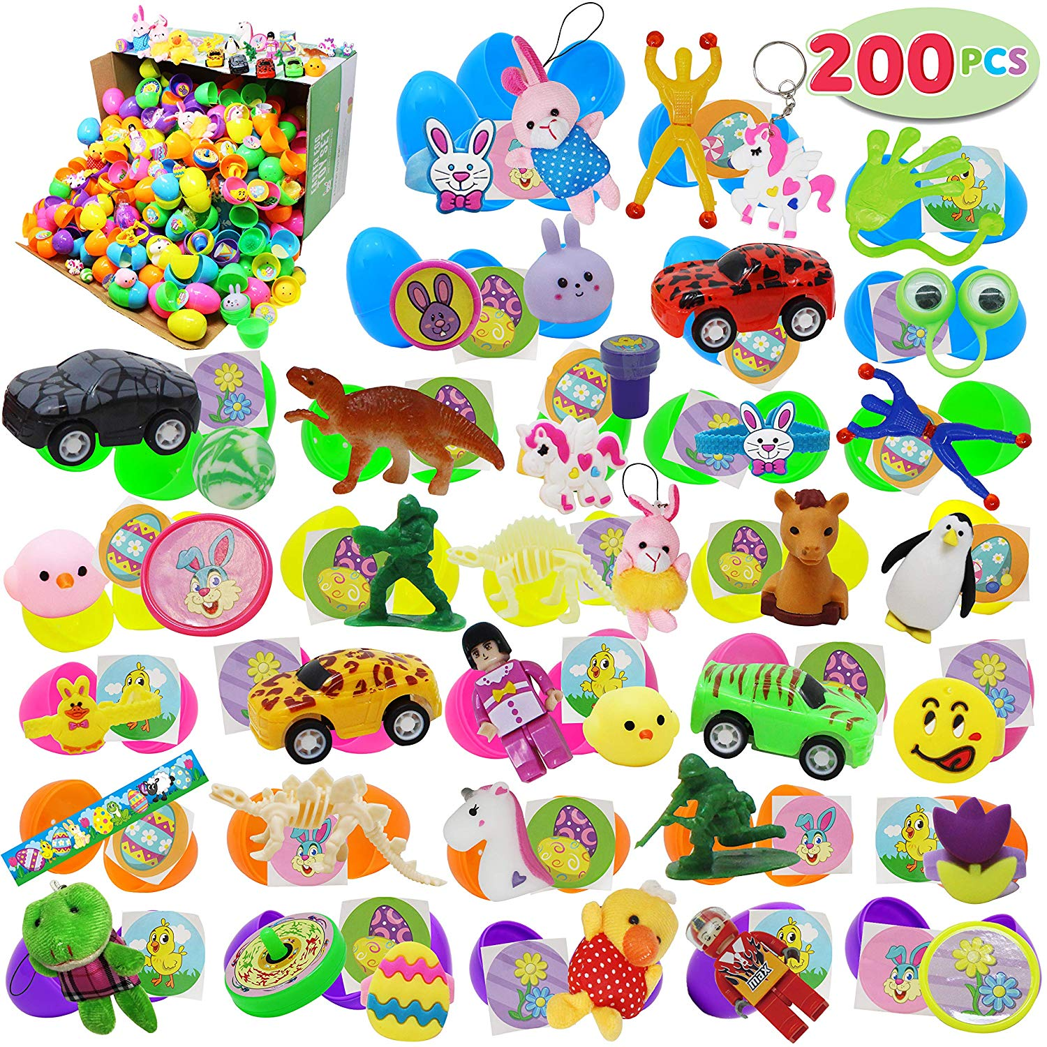 JOYIN  200 Pcs Easter Eggs w/ toys