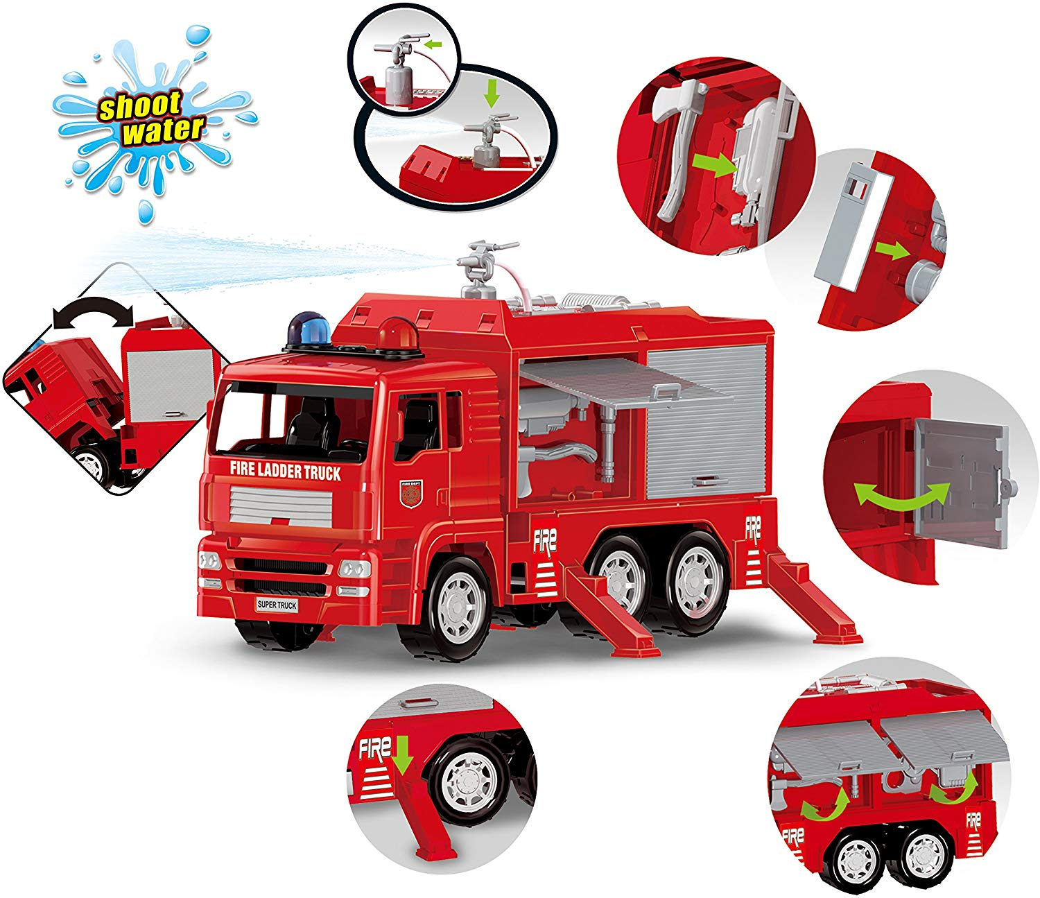 3 Pack Friction Powered City Vehicles Including Garbage Truck, Fire Engine Truck and Construction Dump Truck