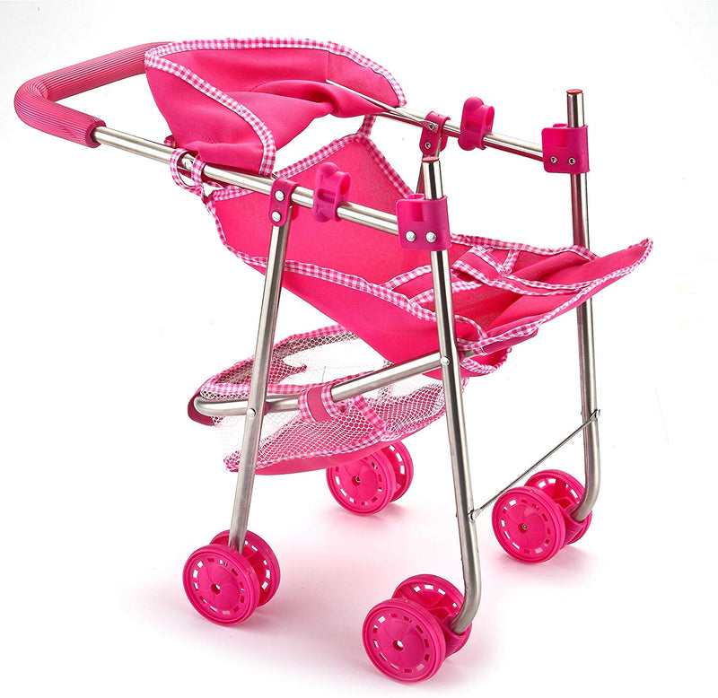 PINK DOLL STROLLER MY FIRST DOLL STROLLER FOLDABLE WITH HOOD, BASKET & SWIVEL WHEELS