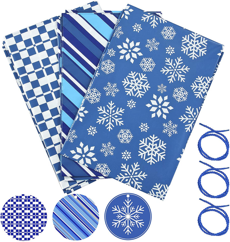 Holiday Blue Plastic Gift Bags