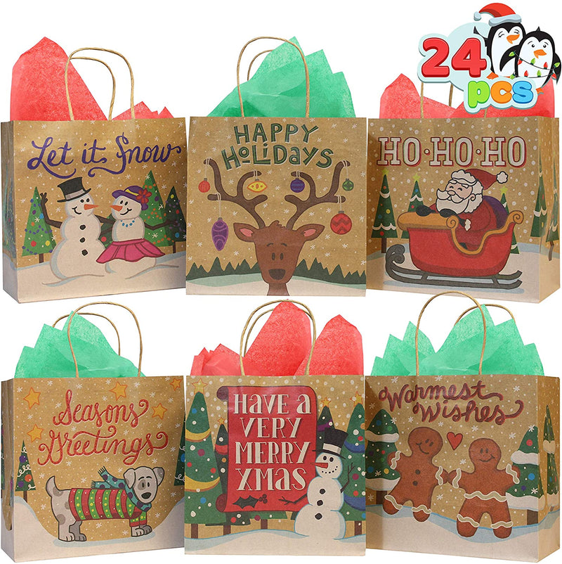 24 Christmas Holiday Goody Bags Kraft Paper