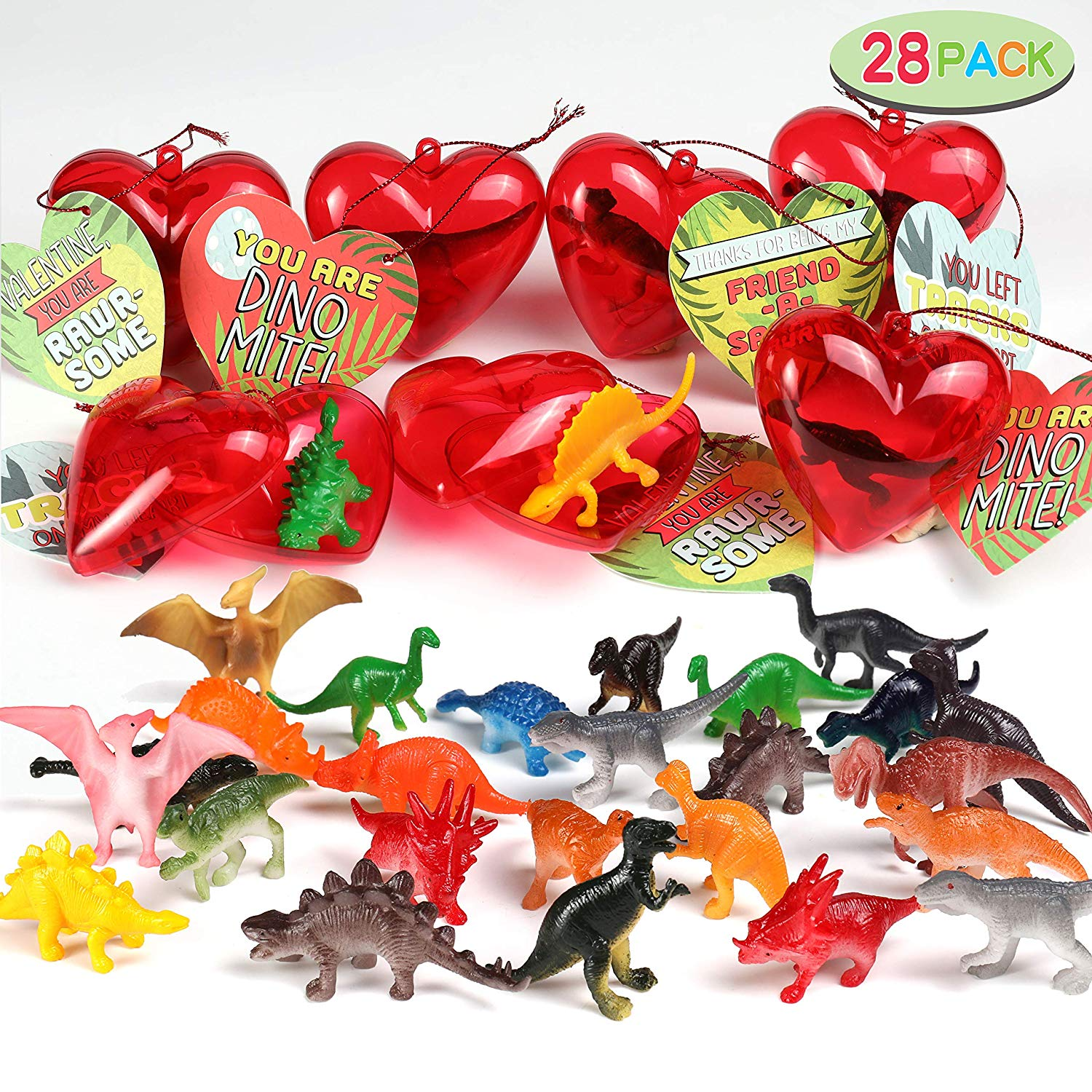 Valentine Party Favors Set with Dinosaur Figures