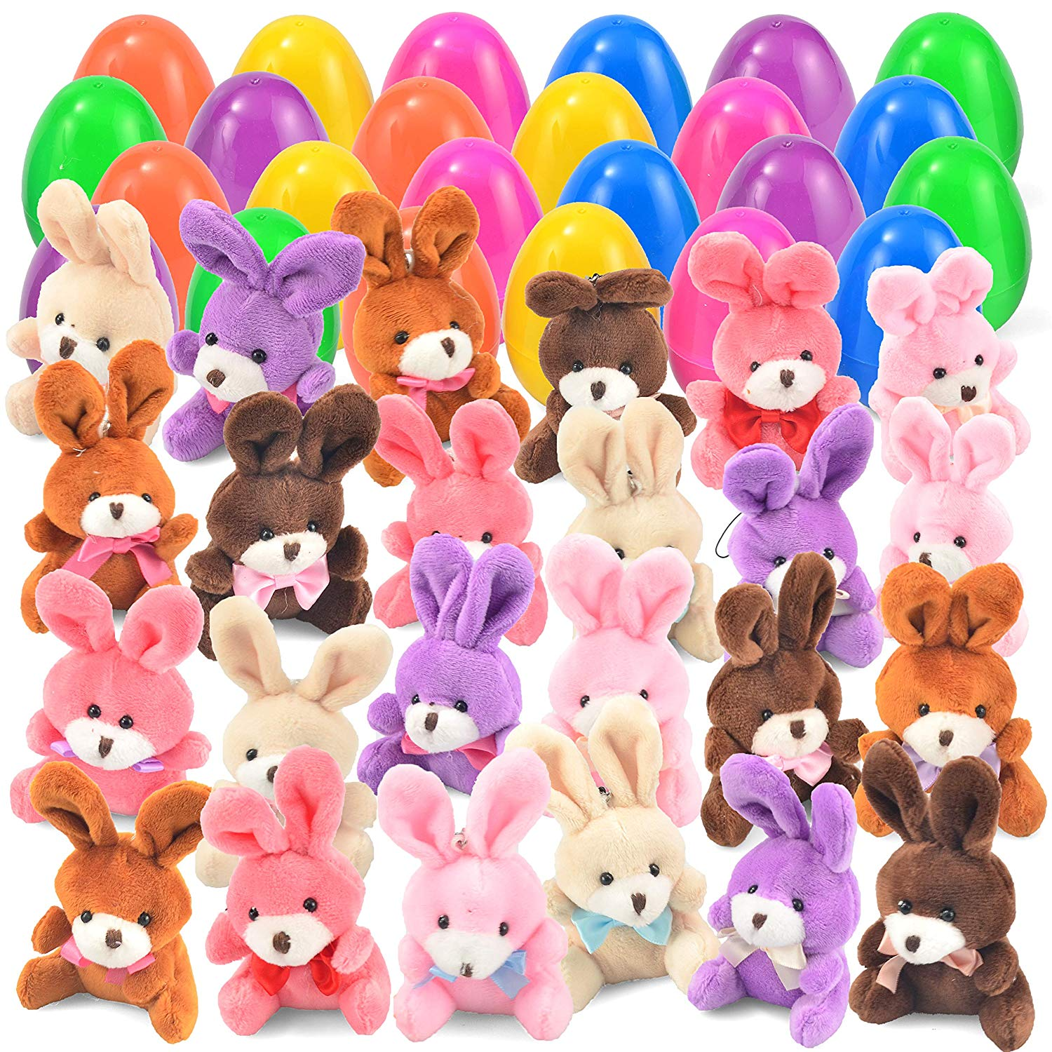 24 PCs Filled Easter Eggs with Plush Bunny
