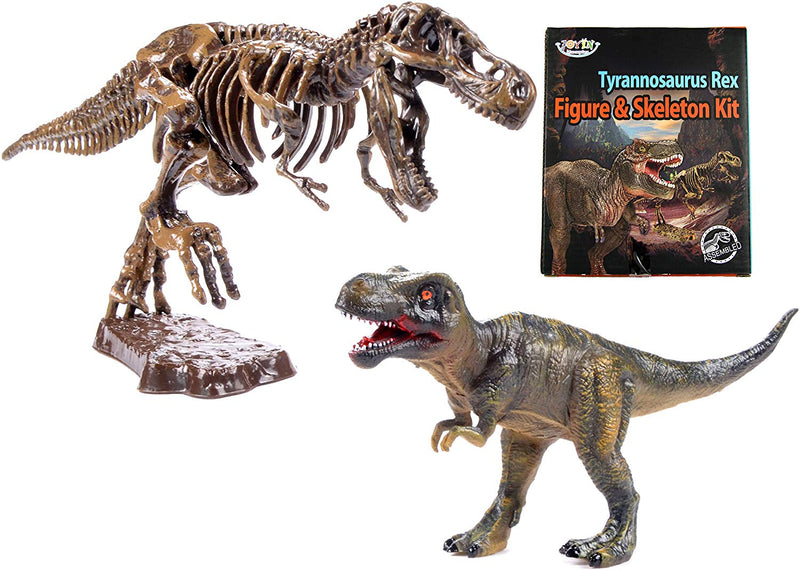 "TYRANNOSAURUS REX DINOSAUR ACTION FIGURE AND T-REX FOSSIL SKELETON 10"" SCALE REPLICA MODEL"