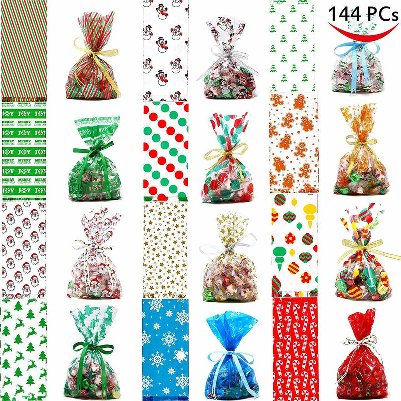 Christmas Cellophane Goody Bags Assortment 144-Piece Set