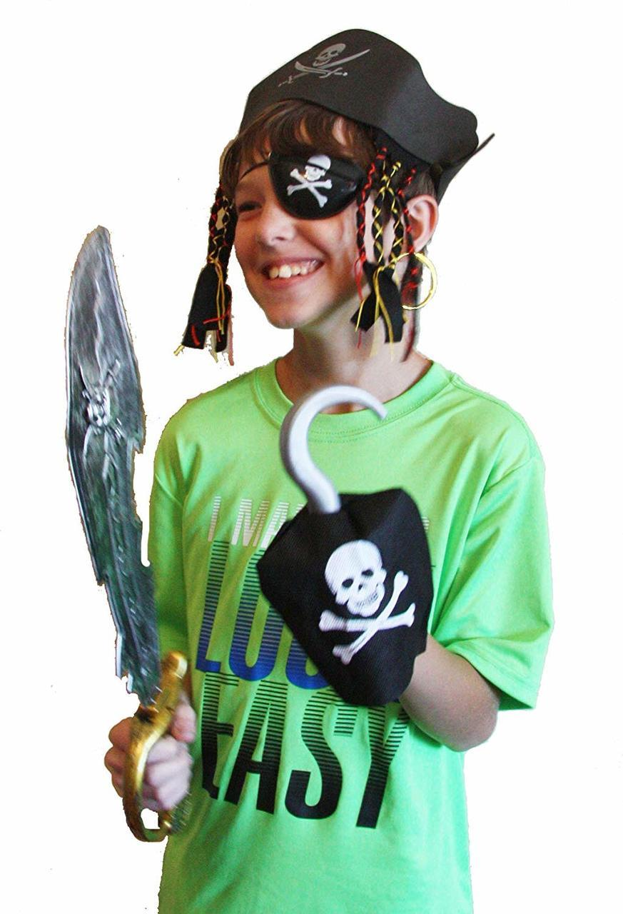 Halloween Pirate Costume Set including Hat, Eye Patch, Sword, Ear Ring and Hook