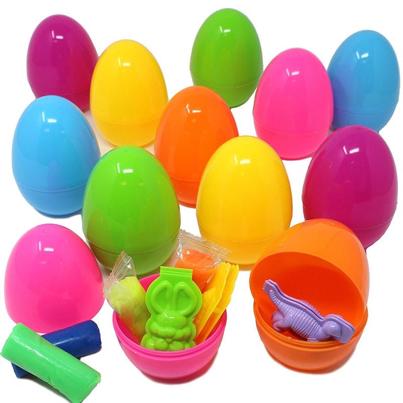 Easter Eggs Pre-Filled with Play Dough, 12-Pack