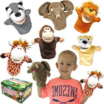 Animal Friends Deluxe Kids Hand Puppets with Working Mouth, 6-Pack