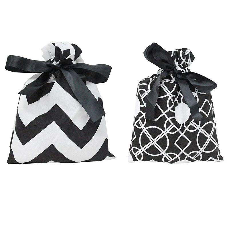 6 Piece Christmas Gift Bags in Black Elegant Color