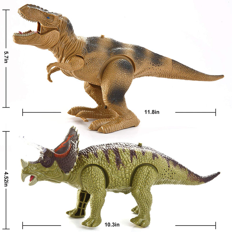 2 in 1 T-rex and Triceratops Dinosaur Set