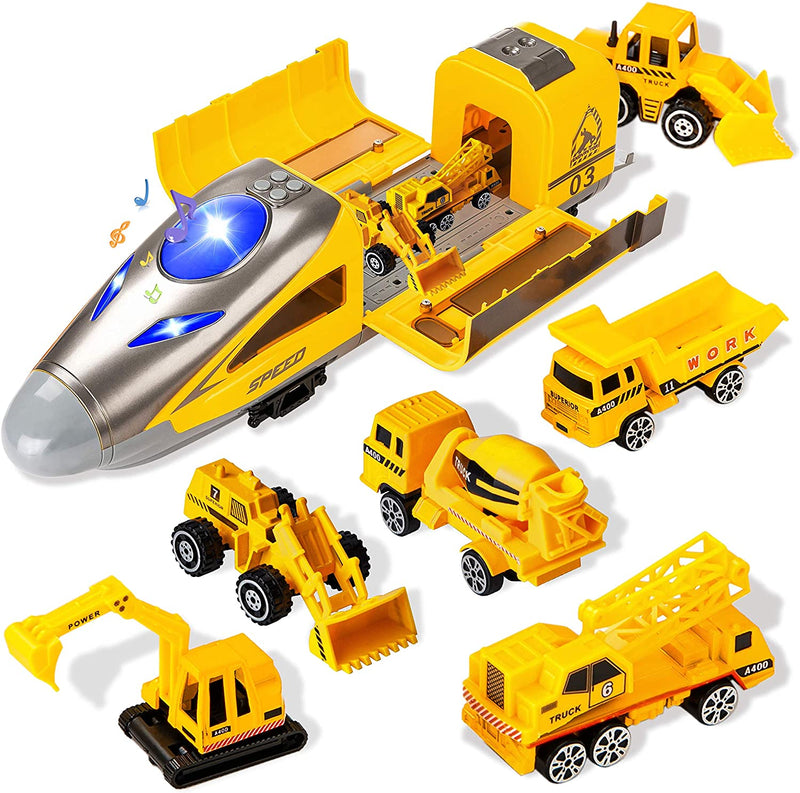 7 Piece Construction Diecast Vehicles and Cargo Train Toy Set
