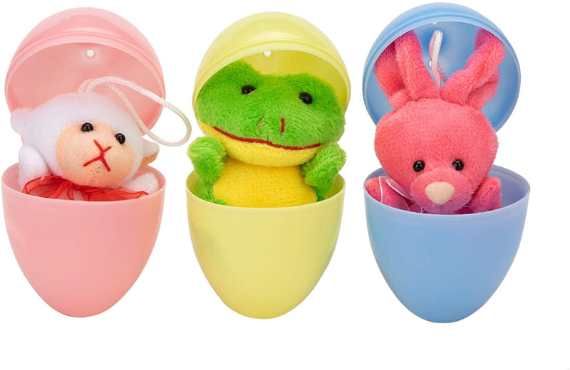 PREFILLED EASTER EGGS WITH MINI STUFFED ANIMAL PLUSH TOYS