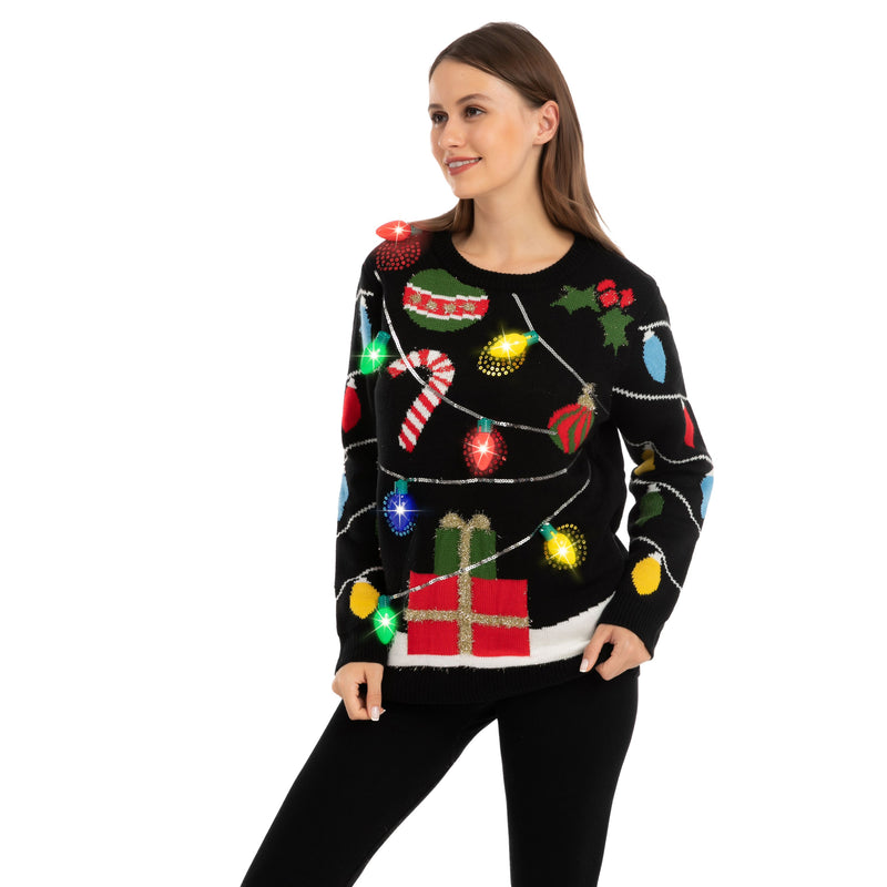 String Lights Ugly Sweater with Light Bulbs for Women