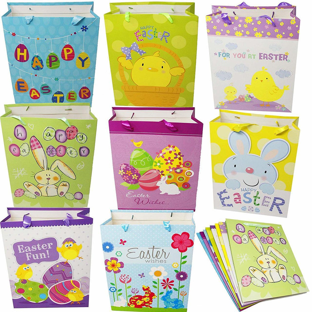 Easter Day Party Gift Bags for Easter Party Favors (8 large and 8 medium sizes), 16-Piece Set