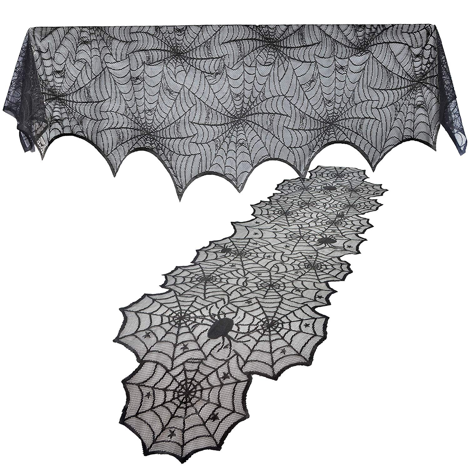 2 Pack Halloween Decoration Black Spiderweb Fireplace Mantle Scarf