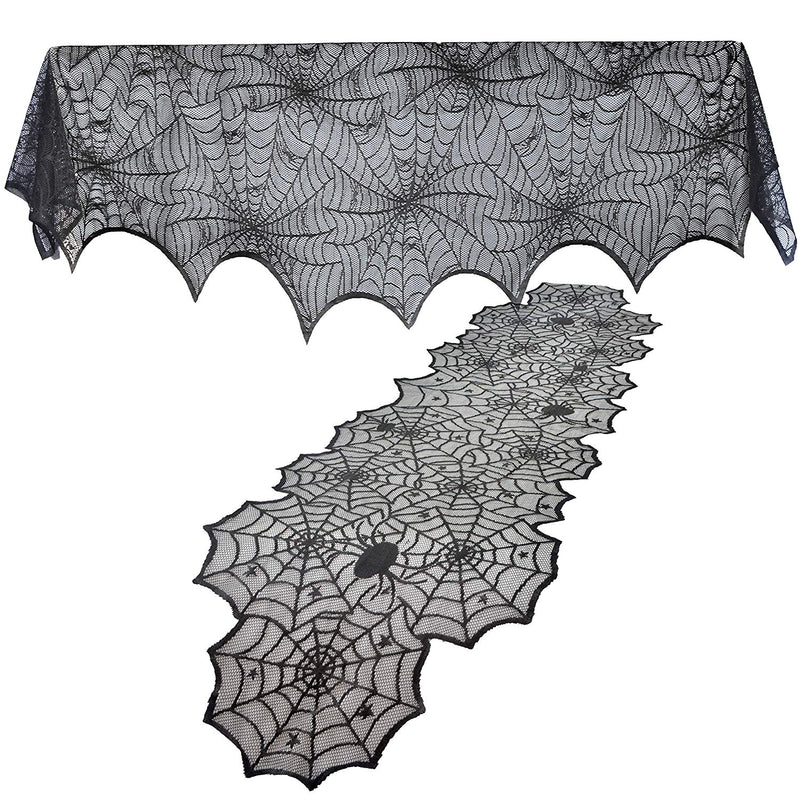 2 PACK HALLOWEEN BLACK SPIDERWEB FIREPLACE MANTLE SCARF