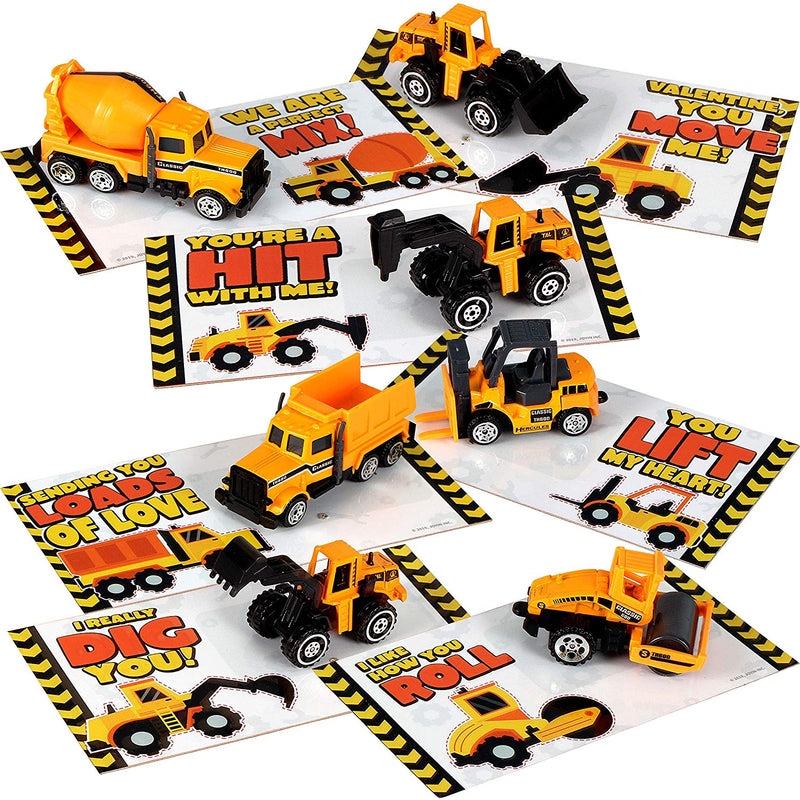 JOYIN 28 Pack Valentines Party Gift Cards with Mini Construction Vehicle Toy Set