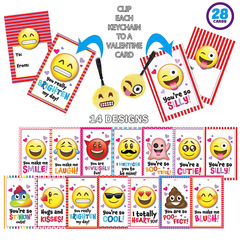 JOYIN 28 Packs Valentines Day Gifts Cards with Emoji Plush Key-chain