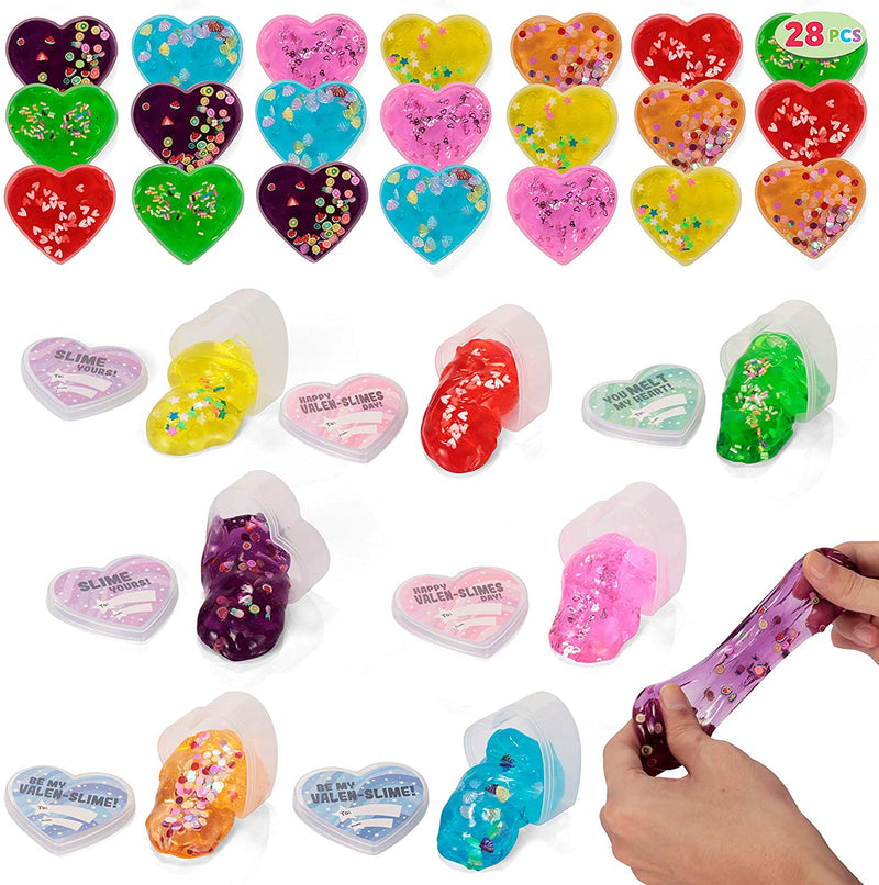 28 Valentines Day Clear Slime Hearts
