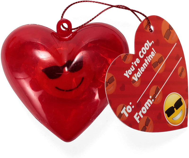 28 Pack Valentine Emoji Eraser Filled Hearts Set