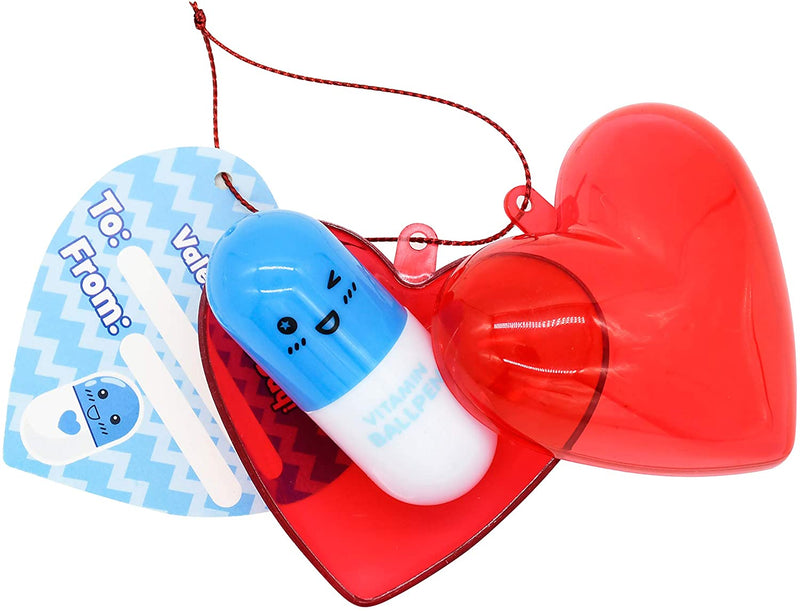 28 Pack Valentine Pill Shaped Pen Filled Hearts Set