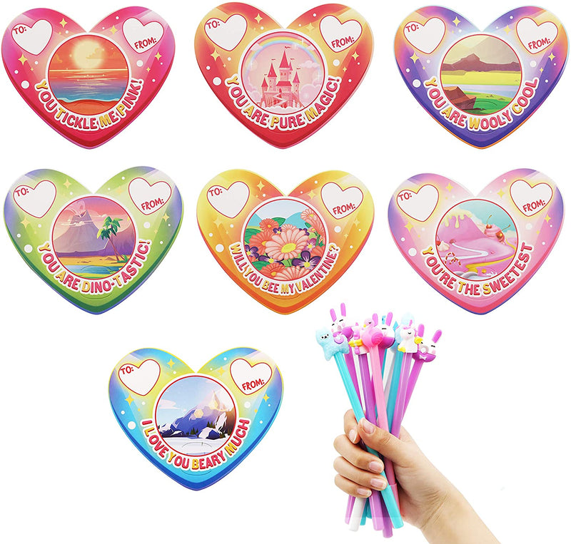 28 Packs Valentine Cards with Animal Pen