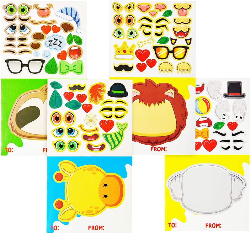 28 Pcs Animal Make a Face Card for Kids