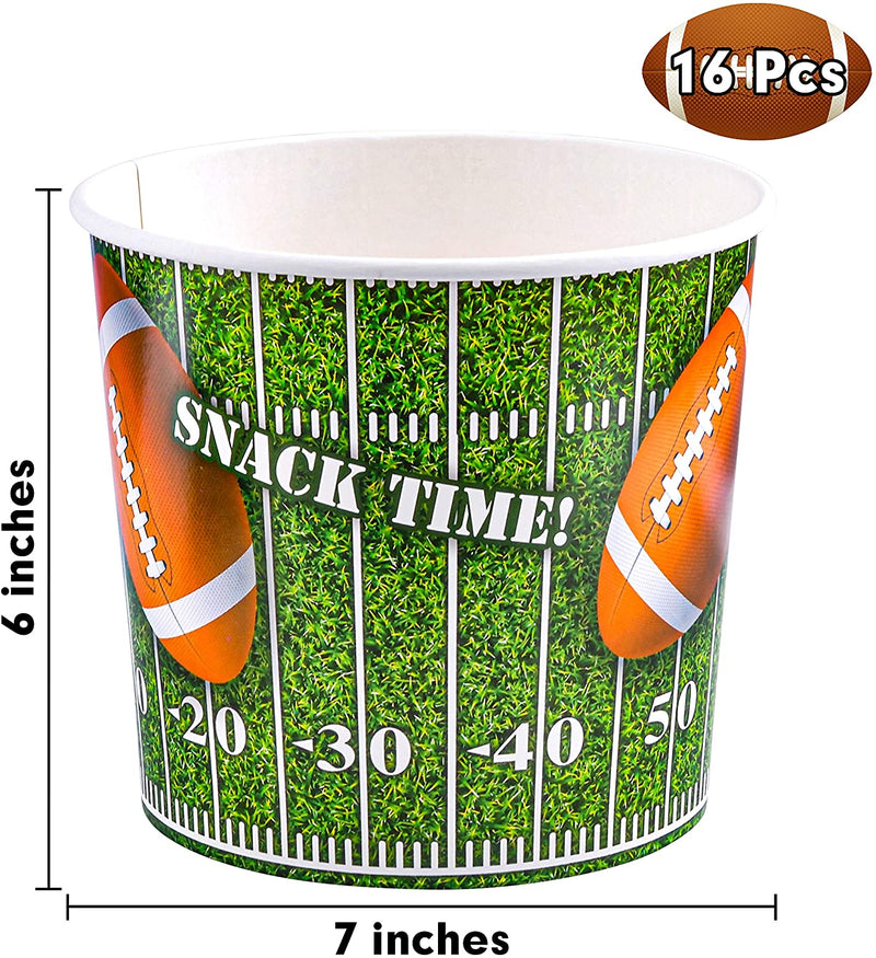 16 Pcs Football Paper Bucket & 32 Pcs Snake Plates