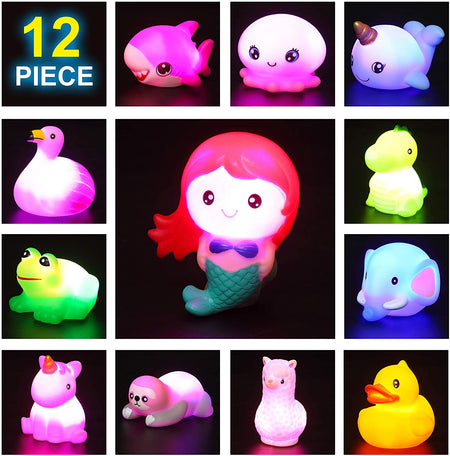 12 Packs Light-Up Bath Toys