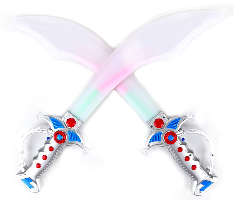 DELUXE PIRATE LED LIGHT UP FLASHING BUCCANEER SWORDS WITH MOTION ACTIVATED CLANGING SOUNDS, 2PCS