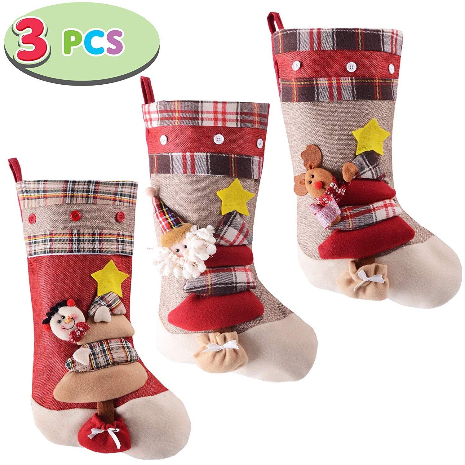 "3 Pack 18"" 3D Burlap Christmas Stockings"