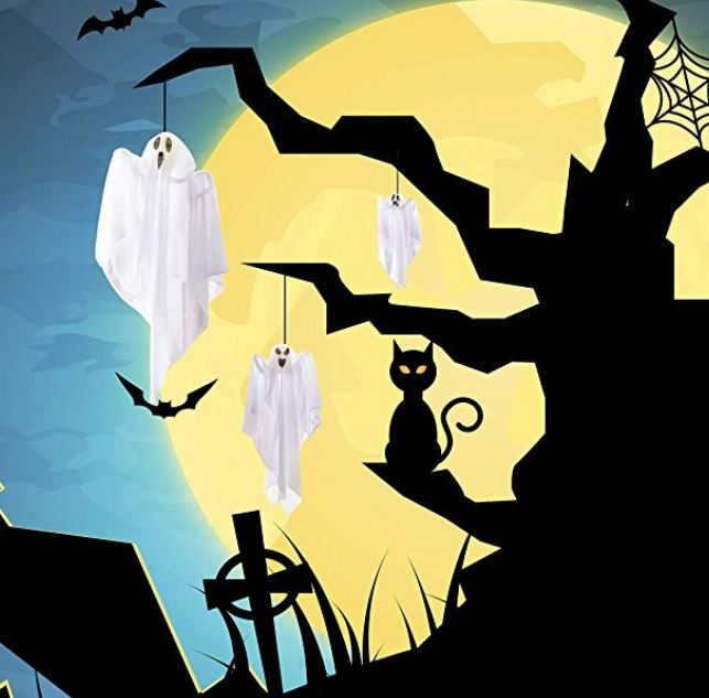 "3 Pack Halloween Party Decoration 25.5"" Hanging Ghosts, Cute Flying Ghost for Front Yard Patio Lawn Garden Party Décor and Holiday Decorations"