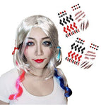 Blue and Pink Mixed HQ Halloween Costume Wig Long Curly Hair Wig With Ponytails - Free Temporary Tattoo