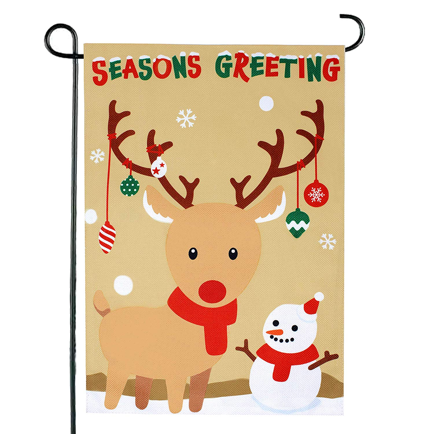 2 Pack Christmas Burlap Welcome Flag