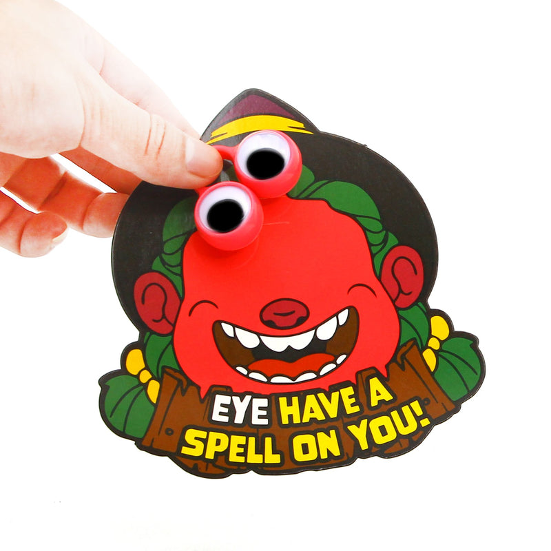 Halloween Greeting Cards Set with Googly Eye Rings