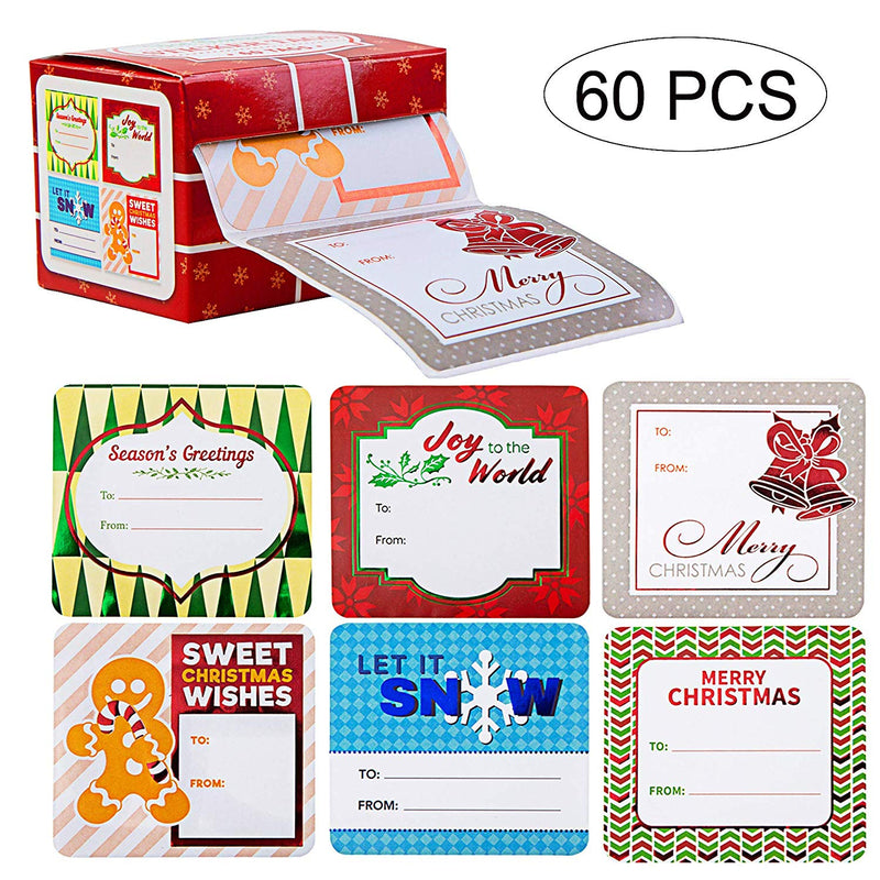 60 PIECES JUMBO CHRISTMAS GIFT SELF ADHESIVE TAG