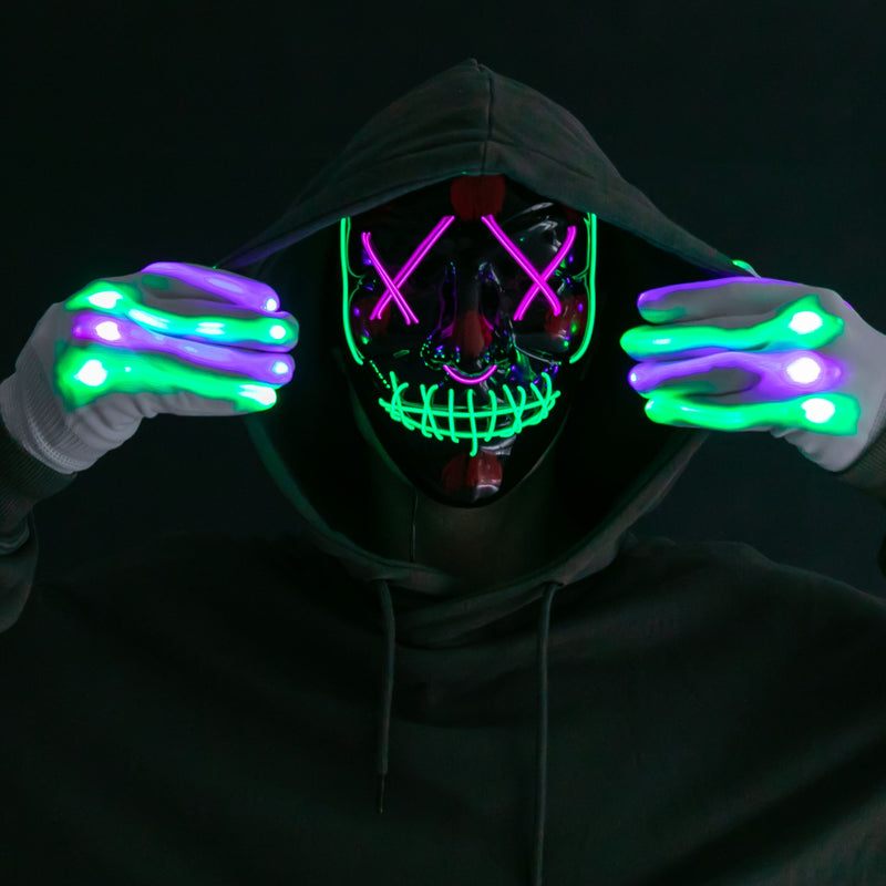 Halloween Led Mask Light Up With Gloves