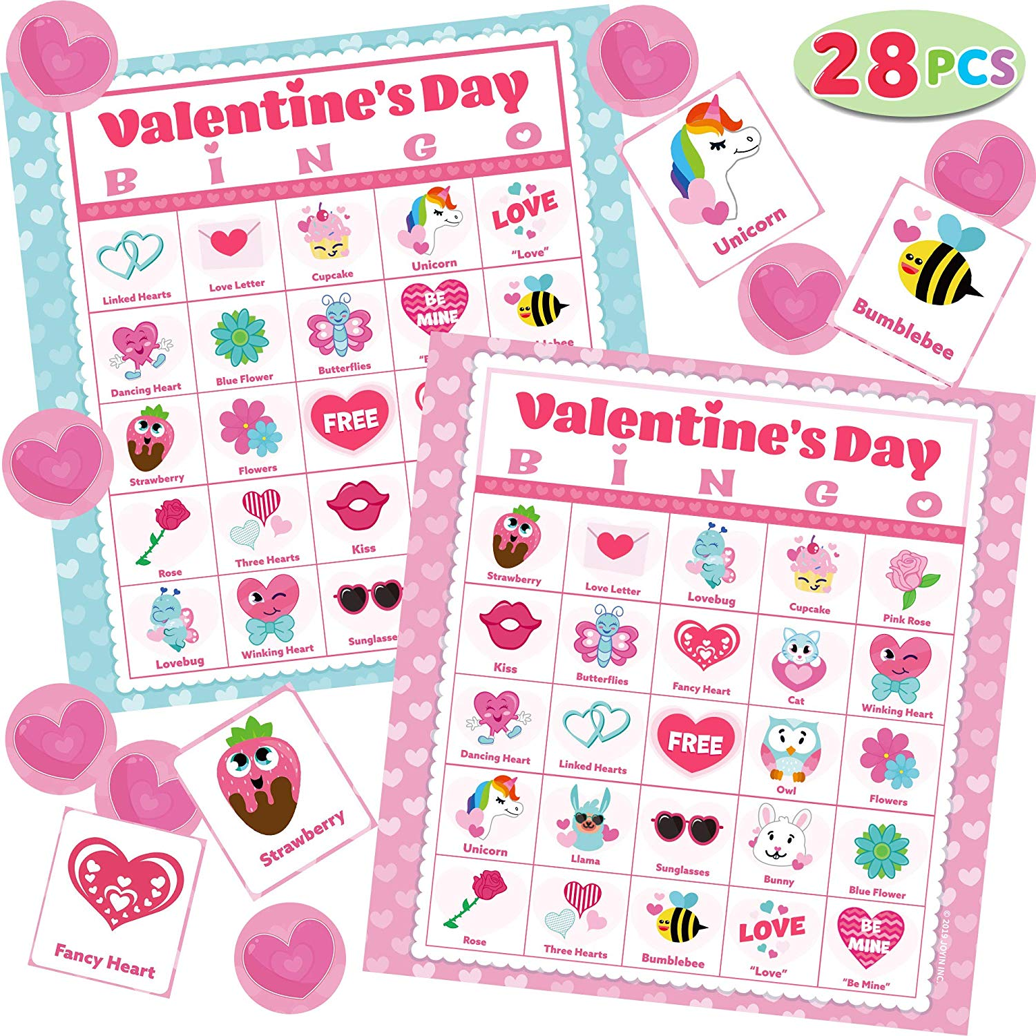56 Players Valentines Day Bingo Cards (5x5) for Kids