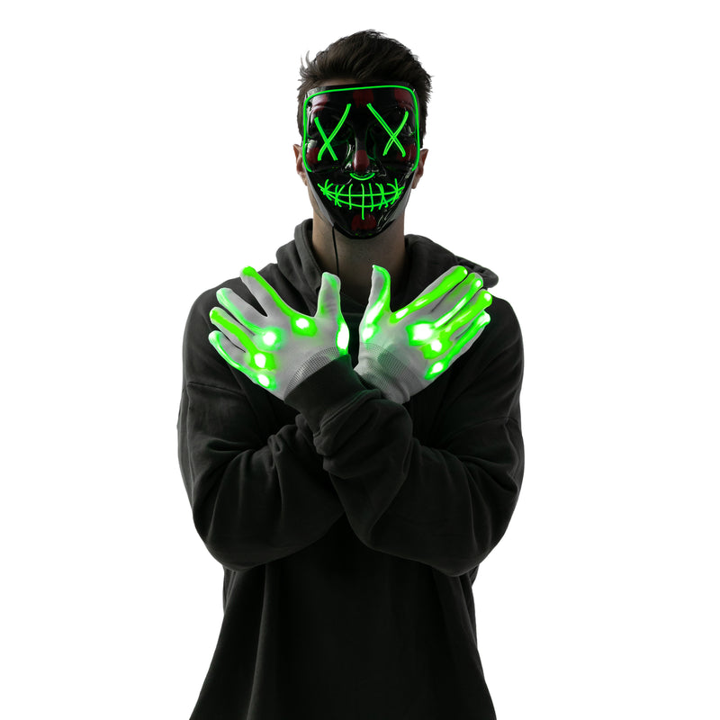 LED Scary Mask and Gloves (Green)