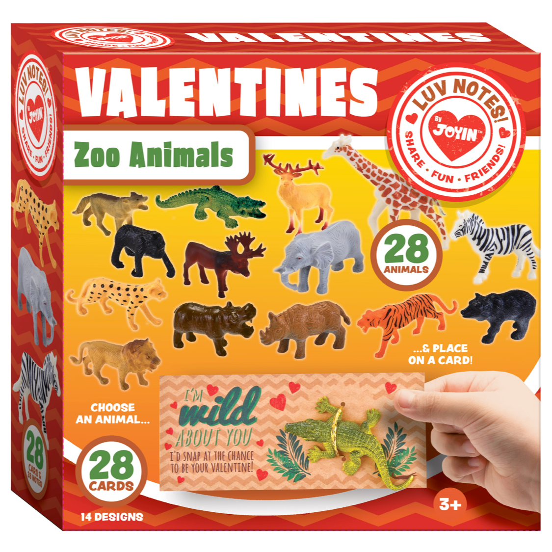 Valentines Day Gifts Cards for Kids with Zoo Animals, 28-Count