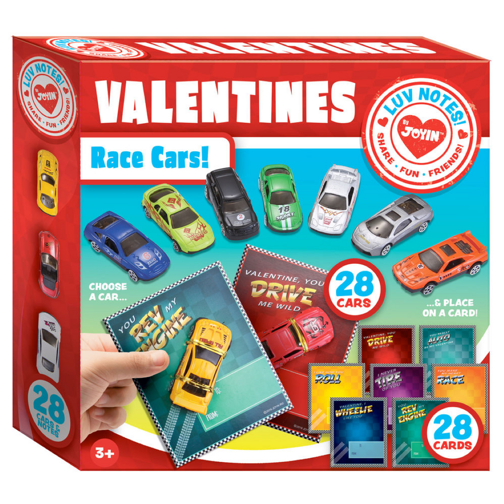 Valentines Day Gifts Cards for Kids with Die-Cast Racing Cars, 28-Count
