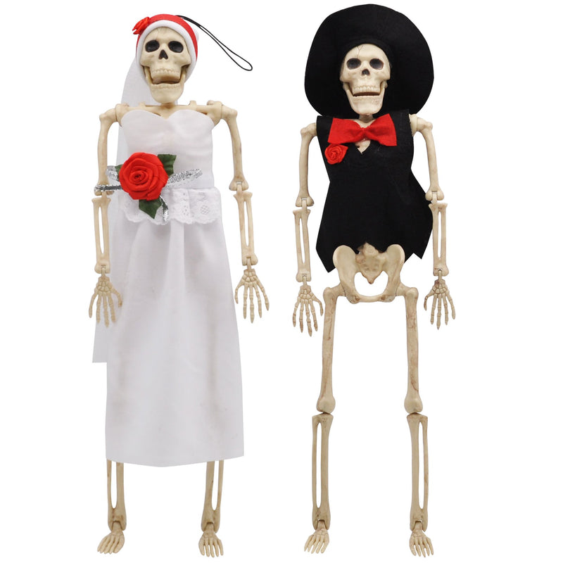 2 Pcs Poseable Bride and Groom Full Body Skeleton