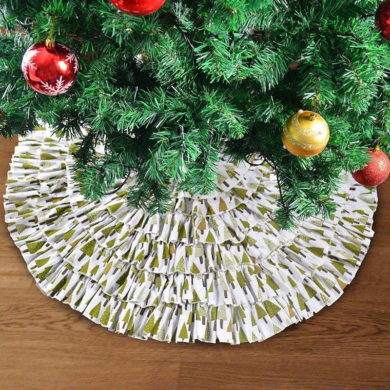 CHRISTMAS BURLAP RUFFLE TRIM TREE SKIRT
