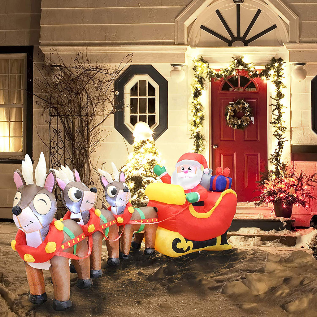 Joiedomi Santa Claus on Sleigh with Three Reindeers Inflatable (9.5 ft)