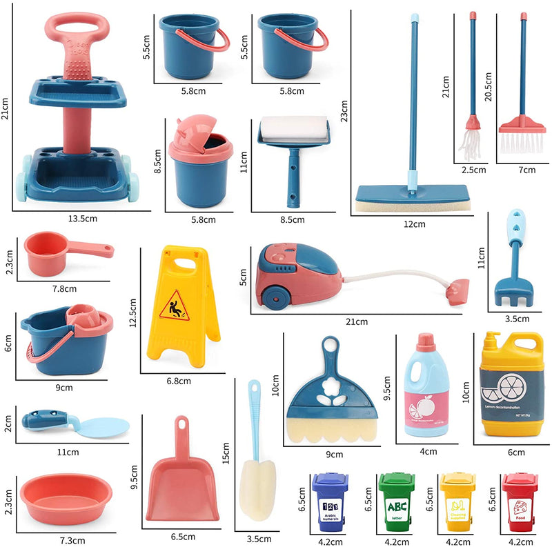 24 Pcs Kids Cleaning Mini Set