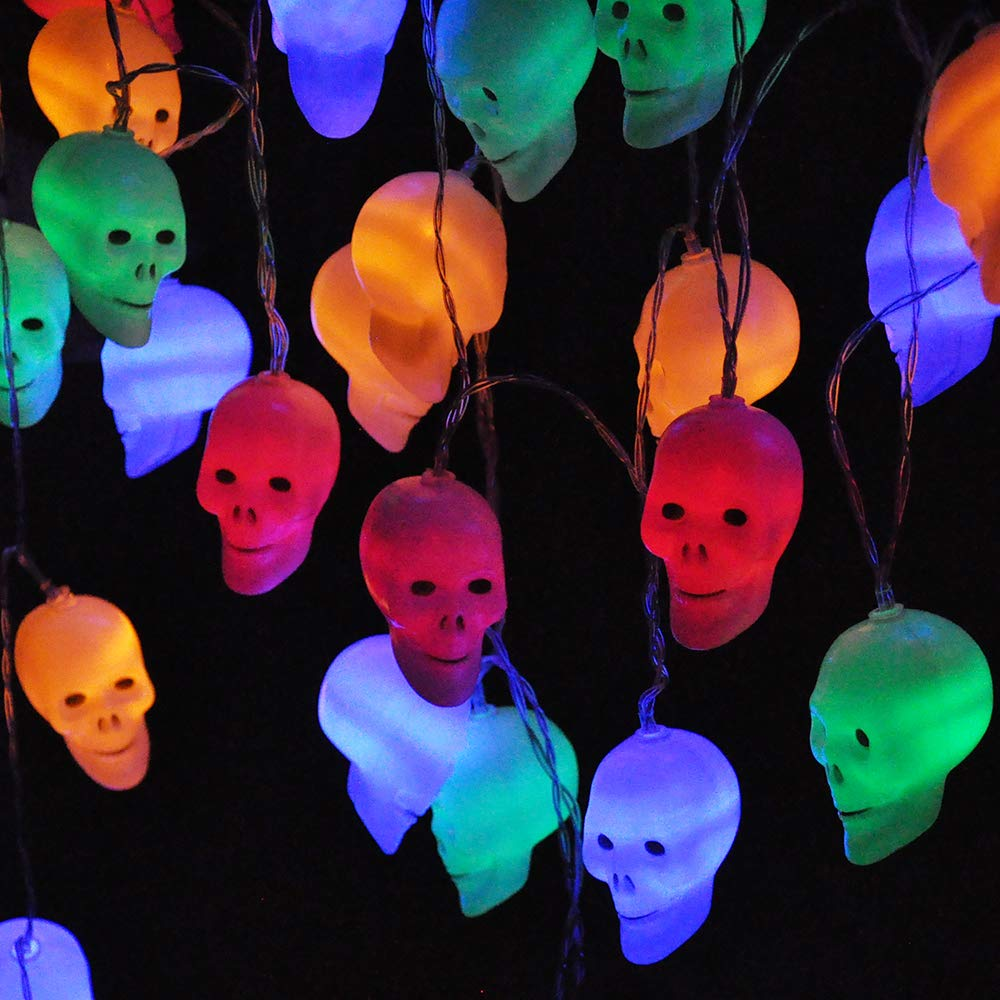 LED Rainbow Skull String Light