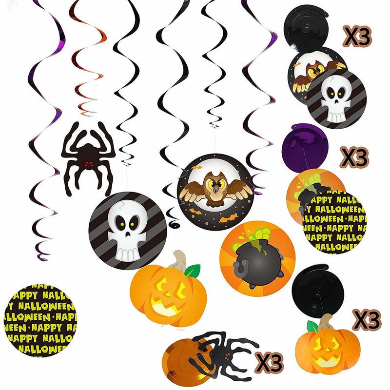 Halloween Party Colorful Swirls and Wall Decorations Set